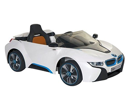 BMW i8 Concept 6-volt Electric Ride-On Car, White/Black/Blue