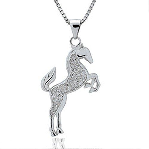 findout argento sterling Cubic Zirconia ciondolo cavallo collana, per le donne le ragazze, (f1578)