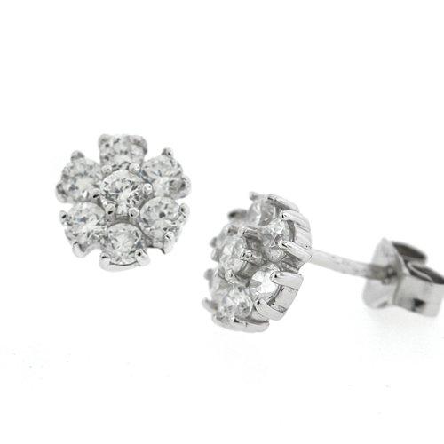Sterling Silver CZ Diamond Daisy Flower Stud Earrings