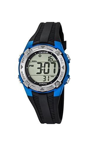 Calypso-Orologio digitale Unisex, con Display LCD digitale e cinturino in plastica, colore: nero, 5 K5685
