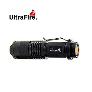 UltraFire® 7W 200LM Mini CREE LED Flashlight Torch Adjustable Focus Zoom Light Lamp-Black(3 mode)