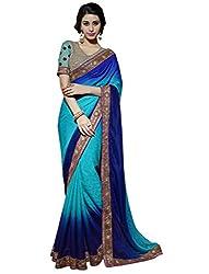 AASVAA Blue Shad Viscose Fabric Fancy Saree
