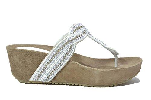 Melluso Ciabatte infradito bianco zeppa sandali donna K80002 37
