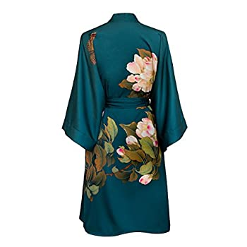 Old Shanghai Women's Kimono Robe Short - Watercolor Floral