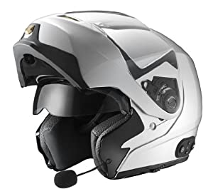 GLX Modular Helmet with Built-In Bluetooth Communication System (Silver, Medium)