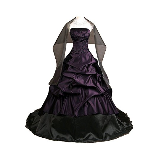 84274847f707 Kivary Women's Strapless Deep Purple and Black Pick up A Line Gothic Prom  Corset Wedding Dresses US 8