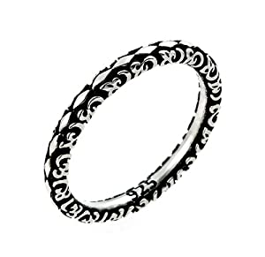 2.5mm Antiqued Marquis Flora Design Stackable Sterling Silver Ring, Size 9