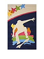 Tapis a Porter Alfombra Home Art Kids Azul/Beige/Multicolor 110 x 170 cm