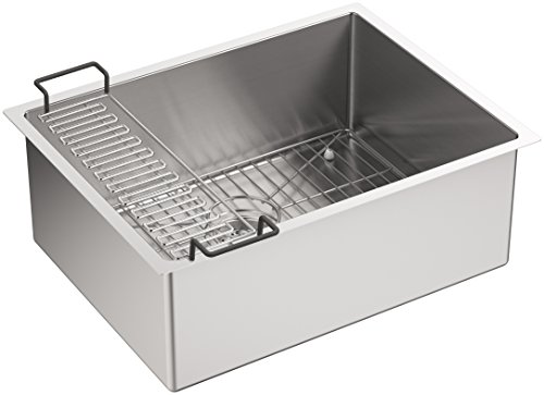 KOHLER K-5286-NA Strive 24 X 18-1/4 X 9-5/16-Inch Under-Mount Single Bowl Kitchen Sink with Basin Rack, Stainless Steel, 1-Pack