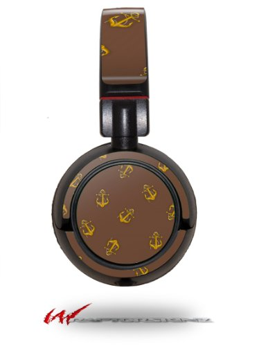 Anchors Away Chocolate Brown - Decal Style Vinyl Skin Fits Sony Mdr Zx100 Headphones (Headphones Not Included)