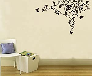 OneHouse Contemporary Black Floral Flowers Design Home Art Wall Decals Sticker by OneHouse