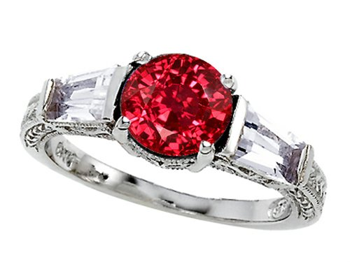 Star K Created Ruby Engagement Ring Sterling Silver Size 6