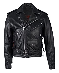 Hot Leathers Classic Motorcycle Jacket with Zip Out Lining (Black, Size 48)