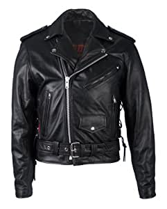 Hot Leathers Classic Motorcycle Jacket with Zip Out Lining (Black, Size 52)