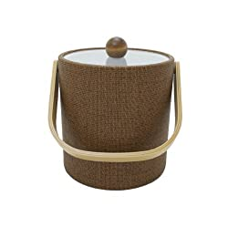 Mr. Ice Bucket 3-Quart Faux Wicker Ice Bucket Beechwood