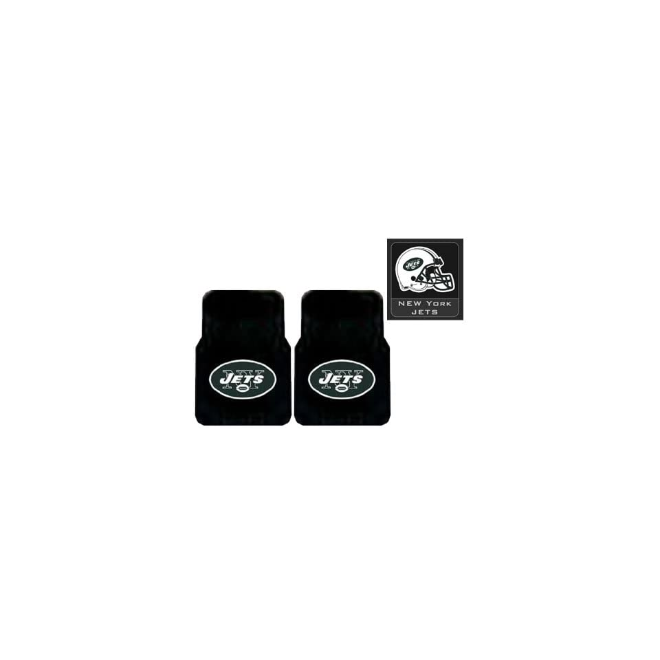 3 Piece New York Jets Automotive Interior Gift Set   A Set of 2 NFL Licensed Universal Fit Molded Front Rubber Floor Mats and One Official NFL Licensed Team Helmet Logo Air Freshener Pine Forest Scent