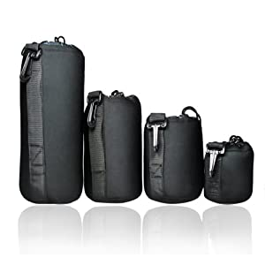FotoTech Extra Thick 4 pcs DSLR camera Drawstring Soft Neoprene Lens Pouch Bag Cover size S M L XL for Sony Canon Nikon Pentax Olympus Panasonic with FotoTech Velvet Bag