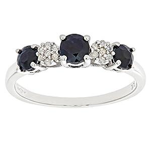 Bague Femme - Or blanc (9 carats) 1.8 Gr - Saphir - Diamant 0.93 Cts - T 60.5