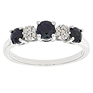Bague Femme - Or blanc (9 carats) 1.8 Gr - Saphir - Diamant 0.93 Cts - T 48