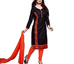 Neets Fashion Women's Cotton Semi Stitched Dress Material(GAU-Vol-21-03_Black)