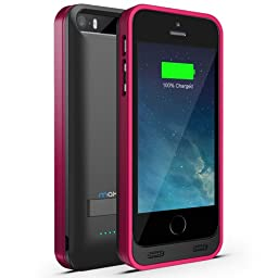 iPhone 5S Battery Case, iPhone 5 Battery Case - Maxboost Atomic S Portable Charger for iPhone 5/5S [MFI Certified] External Protective 2400mAh Battery Charging Juice Power Bank [Matte Black/Pink]