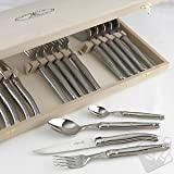 Jean Dubost Laguiole 24-Piece Flatware Set - Stainless Steel, Modern Kitchen Accessory