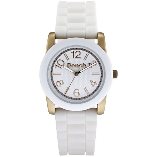 Bench Ladies Quartz Strap Watch with White Dial Analogue Display and White Silicone Band Bc0404Rswh