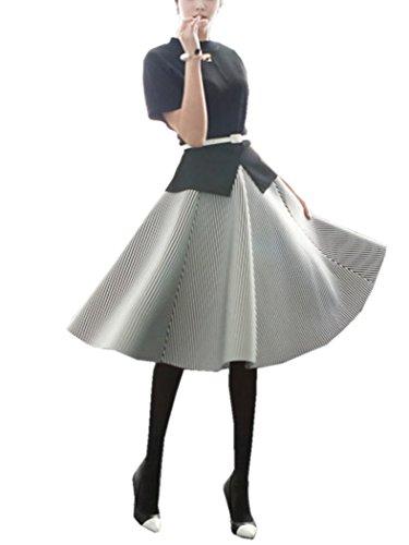 (ラウンドアース レディース) Round Earth Ladies ストライプ サーキュラー スカート シンプル&上品なミモレ丈 S ~ L まで