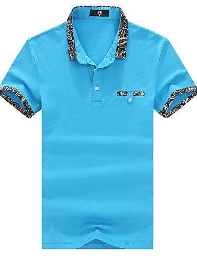 ZY Estate/uomini della moda/Casual/lavoro/Quotidiano/Plus Size/Solid Color Lapel Maniche Corte T-Shirt Blusa Tops, ROYALBLUE-3XL