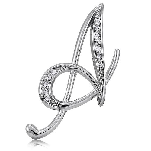 Silvertone Initial Letter Brooch Pin - A