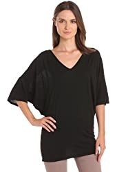 Michael Stars Women's Elbow Sleeve Relaxed Dolman V-Neck Tee
