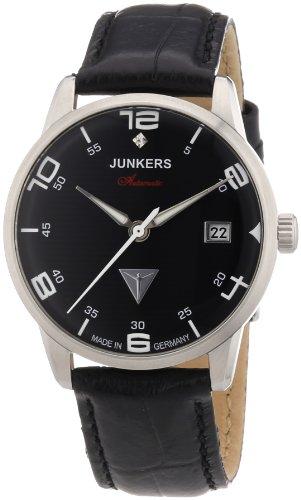 Junkers Wellblech Flatline Automatik Cal. 9015 63652 - Reloj analógico automático para mujer, correa de cuero color negro (cifras luminiscentes)