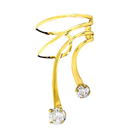 Right Only Gold Vermeil Small Large Cubic Zirconia Short Wave Ear Cuff