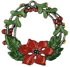 Poinsettia Christmas Star Wreath German Pewter Ornament from Kuehn