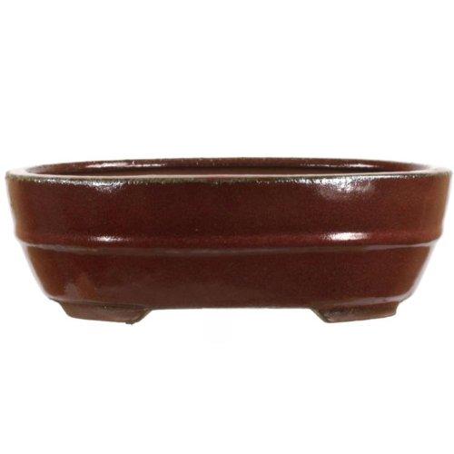 Bonsai pot 24.5x19x8cm red glaced oval