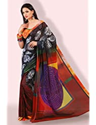 Black and Maroon Georgette Digital Printed Saree