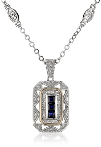 S&G Sterling Silver And 14K Yellow Gold Blue Sapphire With Diamond-Accent Art Deco Style Necklace (0.11 Cttw, I-J Color, I3 Clarity), 17""