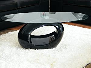 Alaya Oval Tempered Glass Coffee Table On Ovoid Black Fibre Glass Base