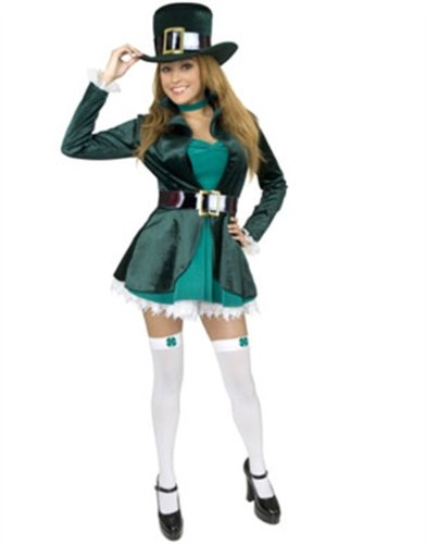 Adult Women's Sexy Leprechaun Costume With Hat