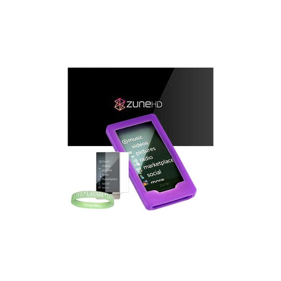 Microsoft Zune HD 16GB, 32GB & Microsoft Zune HD Accessories bundle containing Premium **PURPLE** Silicon Skin Case Cover + Microsoft Zune HD Screen Protector + Live*Laugh*Love Silicone Wrist Band