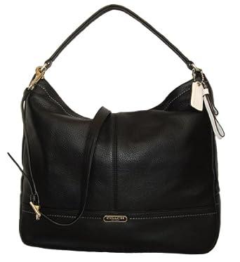 Coach Park Black Pebbled Leather Hobo Shoulder Bag
