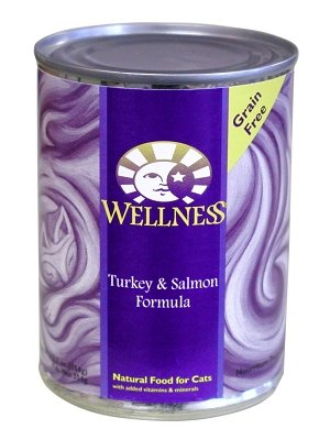 Wellness Canned Cat Food for Adult Cats, Turkey and Salmon Formula (Pack of 12 12.5 Ounce Cans)