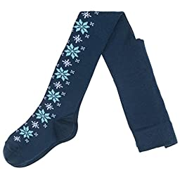 POLARN O. PYRET WOOL SNOWFLAKE TIGHTS (BABY) - 1-2 years/Dark Night