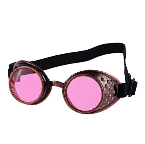 Outtop Vintage Style Steampunk Goggles Welding Cyber Punk Cosplay Glasses (Pink)