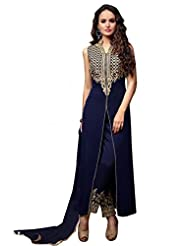 Ninecolours Georgette Party Wear Salwar Suit In Blue Colour