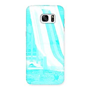 Delighted Ride Cyan White Back Case Cover for Galaxy S7 Edge