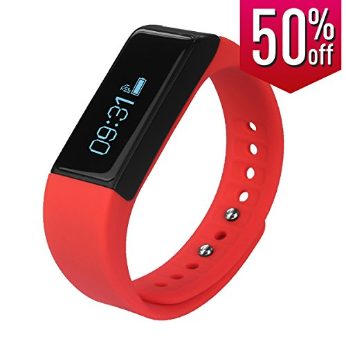 Toprime174; Fitness Tracker Wearable Waterproof Smart Band with Multi-Functions Red