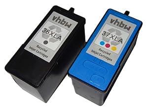 vhbw 2 x PRINTER INK CARTRIDGE SET for Lexmark X3630 X3690 X4630 X4650 X5690 X6650 X6675 Z2400 as 36, 37.