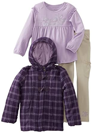 Calvin Klein Little Girls' Plaid Hooded Jacket With Lilac Tee And Pant, Purple, 5