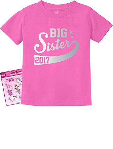 TeeStars - Big Sister Est 2017 - Sibling Gift Idea Toddler/Infant Kids T-Shirt 2T Pink